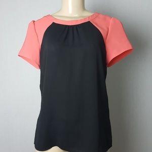 Banana Republic Black/ Orange Short Sleeves Blouse